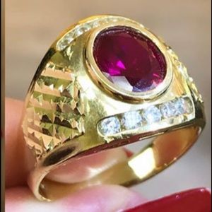 14K Solid men's Birth stone Ruby January CZ Ring